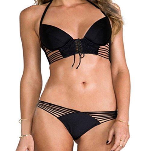 FQHOME Womens Black European Style Push Up Strappy Bikini Swimsuit Size L