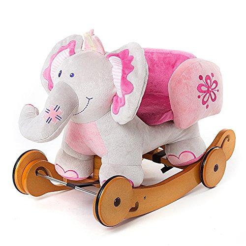 Labebe -Animal de éléphant à bascule peluche rose douce-Jouet De Premier Age