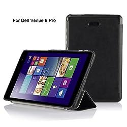 IVSO Slim Smart Cover Case for Dell Venue 8 Pro (Windows 8.1) Tablet, Only fit DELL Venue 8 Pro windows 8.1 tablet (Black)