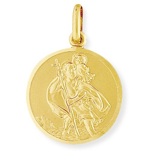JR Jewellery 9ct.Yellow Gold Large Round St. Christopher Medallion 22mm x 32mm ( JSC006) - No Chain