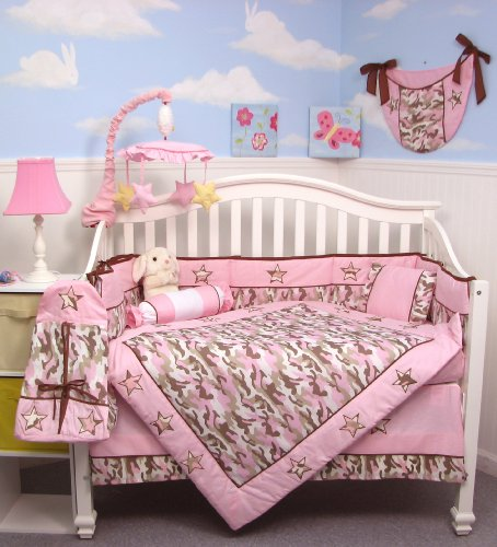 baby bedding soho pink camo baby crib nursery bedding set 10 pcs reversible to soho flower