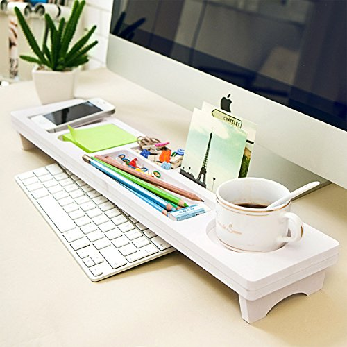 Eco-Friendly Wooden Desktop Organizer Over the Keyboard for Home Office Ivory