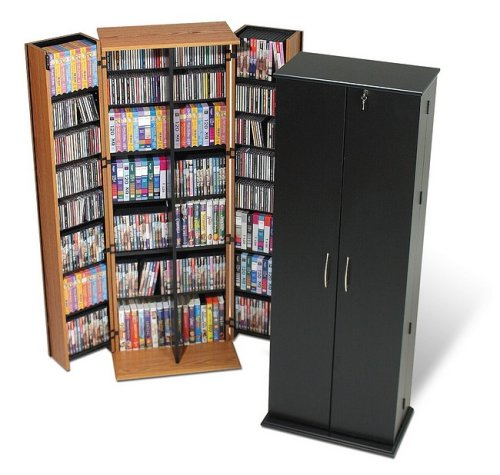 Grande Locking Media Storage Cabinet - Oak
