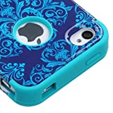 Product B00L4Q4NP2 - Product title MyBat TUFF Hybrid Phone Protector Cover for iPhone 4s - Retail Packaging - Purple/Blue Damask/Tropical Teal