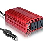 BESTEK 300W Dual 110V AC Outlets Power Inverter DC 12V to 110V AC Car Adapter with 3.1A Dual USB Charging Ports for Laptop, Smartphones and Tablets