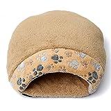 猫快適 ベッド 寝袋式猫ベッド クッション マット ペット 秋冬用 (S, ブラウン)