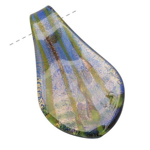 Murano Style Glass Gold Foil & Cobalt Leaf Pendant #6