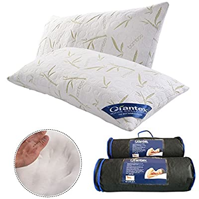 GIANTEX Set of 2 King Bambom Memory Foam Hypoallergenic Pillow With Carry Bag