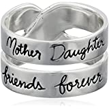 """Sterling Silver """"Mother Daughter Friends Forever"""" Double Band Ring"""