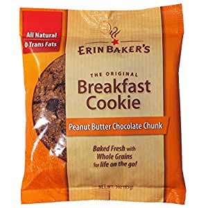 Erin Baker's Breakfast Cookie Peanut Butter Chocolate Chunk. 3-Ounce Individually Wrapped Cookies, 12 Count