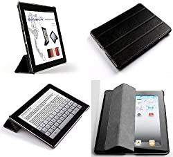 Invision® iPad 2, iPad 3, iPad 4 Smart Case Covers - Full Grade PU Leather with Micro Fibre Inner Cloth - PREMIUM QUALITY & SUPERIOR DESIGN FEATURES, AUTO SLEEP/WAKE FUNCTION AS STANDARD