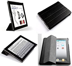 """Invision® New iPad 4 (with Retina Display) & iPad 3 Case Cover in Black- Front & Back Protection Smart Cover With Magnetic Auto Wake & Sleep Function - Full Grade Leather (PU) with Smooth Satin Inner Cloth - Premium Quality with Superior Design Features - Independently Recommended by """"Which?"""" Magazine. (Black iPad 3 & 4 Case)"""