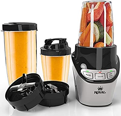 Royal Professional 8-Piece Blender Set - High-Speed Food Processor (1000 Watts) Grinder/Extractor Blade - Perfect for Smoothies, Shakes, and Juices