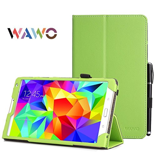 Samsung Galaxy Tab S 8.4 Case - Wawo Premium Pu Leather Folio Case For Samsung Galaxy Tab S 8.4 Inch Android Tablet(With Smart Cover Auto Wake / Sleep) Green front-835383