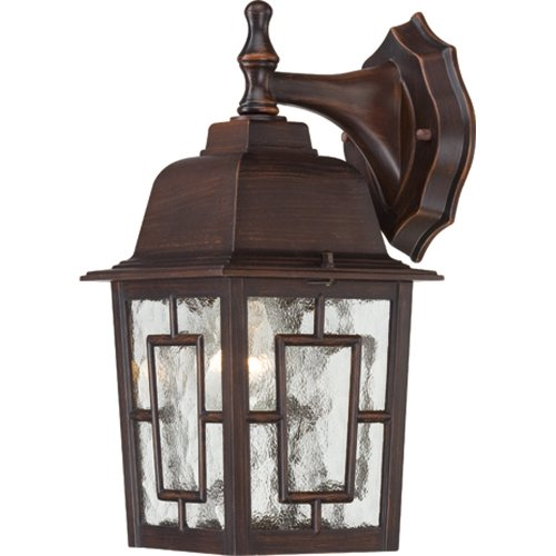 Nuvo Lighting 60/4922 Banyon Wall Lantern/Arm Down with Clear Water Glass, Rustic Bronze