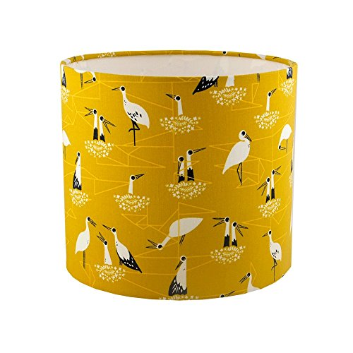 handmade-drum-lampshade-in-mustard-stork-fabric