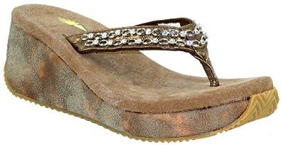 Volatile Trinket Womens Bronze Wedge Thong Sandals