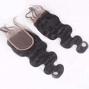 "Sunwell Free Part 4*4 Inch Lace Top Closure Body Wave Virgin Human Hair Natural Black 14"""