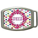 Colorful Polka Dot Monogram Kids Belt Buckle