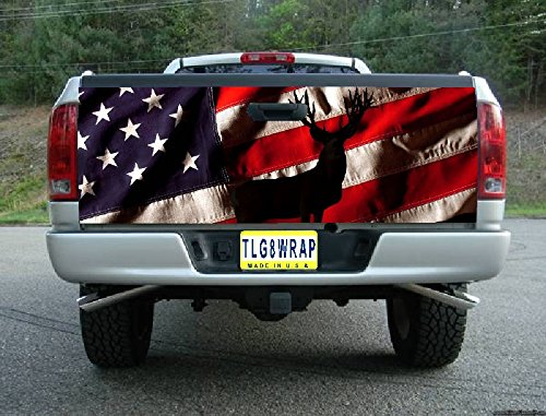 T35 AMERICAN FLAG DEER HUNTING TAILGATE WRAP Vinyl Graphic Decal Sticker F150 F250 F350 Ram Silverado Sierra Tundra Ranger Frontier Titan Tacoma 1500 2500 3500 Bed Cover tint image (F250 Fender Decals compare prices)