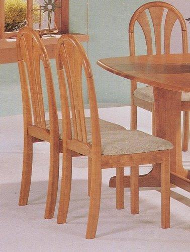 Set of 2 Oak Finish Fan Back Wood Dining Chairs