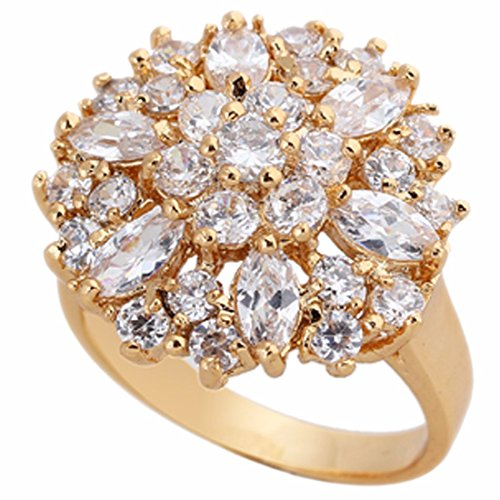 Women White Gold Plated Diamond Ring Crystal