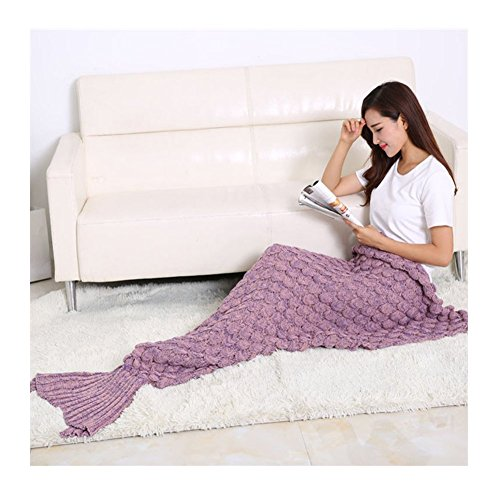 MasiMiele Knitted Mermaid Blanket for Adults&Kids,Warm Sofa Quilt Living room blanket 195cmX90cm(76.8