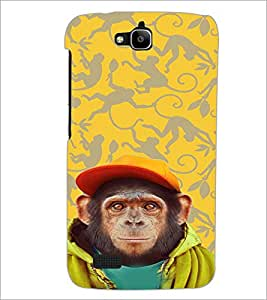 PrintDhaba Cute Monkey D-3653 Back Case Cover for HUAWEI HONOR HOLLY (Multi-Coloured)