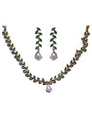 Natural Sea Water Pearl & Emerald Color Stone Studded Necklace & Earrings Set