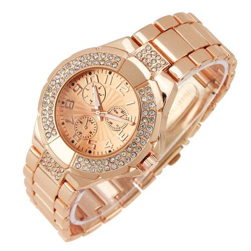 Muchbuy Men Women Stainless Steel Rose Gold Cz Simple Wrist Watch