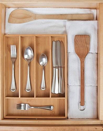 Kd organizers 5 slot bamboo cutlery drawer organizer for Silverware storage no drawers