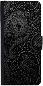 Snoogg Paisely Pattern Black Graphic Snap On Hard Back Leather + Pc Flip Cove...