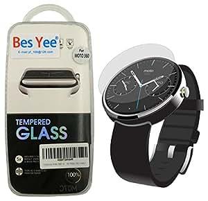 Motorola Moto 360 Watch Tempered Glass Screen Protector, BesYee Real 0.3mm Premium Watch Tempered Glass Screen Protector Film for Moto 360 Watch