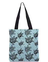 Snoogg Seamless Pattern With Turtles Seamless Pattern Can Be Used For Wallpaper Designer Poly Canvas Tote Bag - B012FZ376Q
