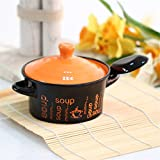 Hineway Japanese Style Ceramic Soup Bowl With Lid and Spoon Random Color 1 Pcs