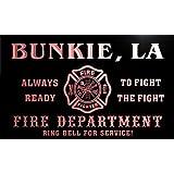 qy57073-r FIRE DEPT BUNKIE, LA LOUISIANA Firefighter Neon Sign Barlicht Neonlicht Lichtwerbung