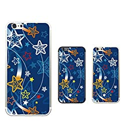 Hamee Designer Case from Japan Clear Protective Plastic Hard Cover for iPhone 6 / 6s (Star Design / Blue)