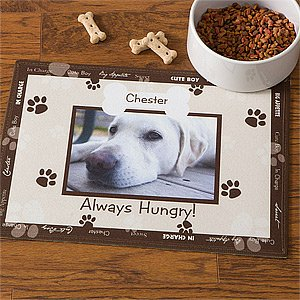 Personalized Dog Bowl Mat - Brown - Throw Me A Bone front-985253