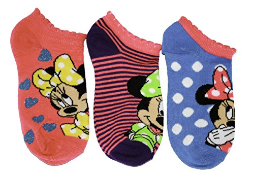 Disney Minnie Mouse Girls Ankle Socks, 3 Pack, Size 6-8