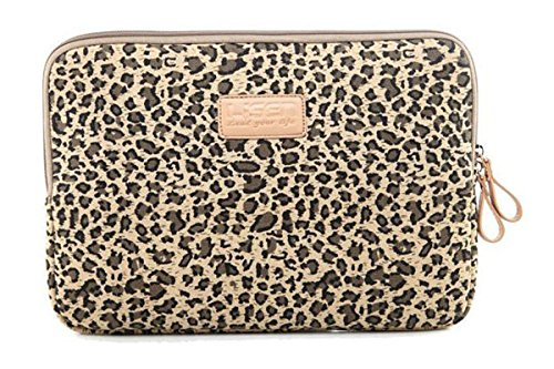 LISEN Brown Leopard's Spots Style Canvas Fabric 13-13.3 Inch Laptop / Notebook Computer / MacBook / MacBook Pro / MacBook Air Sleeve Case Bag Cover + Neck Strap Lanyard +Stylus Pen + Cleaning Cloth