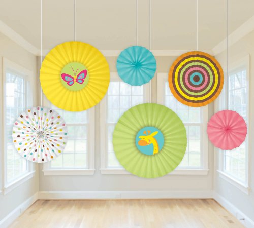 Fisher Price® Baby Paper Fan Decorations Pkg/6 front-541865
