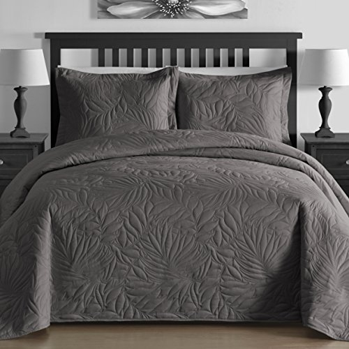 EXTRA Lightweight & Breathable Thermal Pressing Modern Quilted Botanical 3-piece Bedspread Coverlet Set (King/Cal King, Gray) (Oversized King Quilt Gray compare prices)