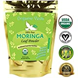 Organic Moringa Leaf Powder - FREEZE DRIED (16 Ounce - 1 Lb). 100% Pure and Natural Raw Organic Super Food Supplement. Non GMO. Gluten FREE. 100% Veg and Herbal. US FDA Registered Facility. USDA CERTIFIED ORGANIC. ALL NATURAL!