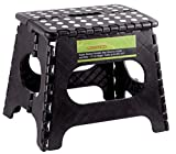 """Greenco Super Strong Foldable Step Stool for Adults and Kids - 11"""" in Height, Holds up to 300 Lb!!! (Black)"""
