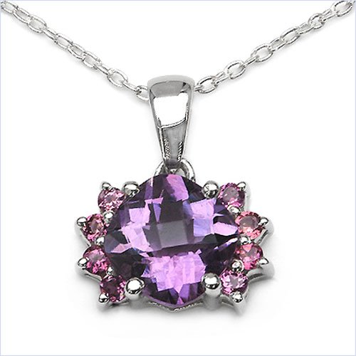 Jewelry-Schmidt-Necklace / Pendant with Amethyst / Rhodolite silver