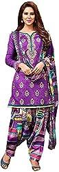 Begum Riwaaz Women's Georgette Unstitched Dress Material (18006B, Purple)