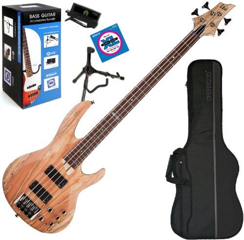 Esp Ltd B204-Smns 4-String Electric Bass W/ Gig Bag And Daddario Bass Accessory Bundle