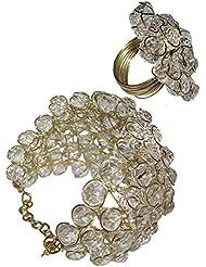 White Colour Set Of Bracelet And Finger Ring