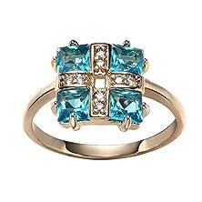 buy Romantic Time Blooming Flower Blue Diamond Drewdrop Around 18K Rose Gold Plated Love Rings (6)