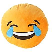 Bigood 32cm Emoji Smiley Emoticon Round Cushion Pillow Soft Toy Laugh to tear